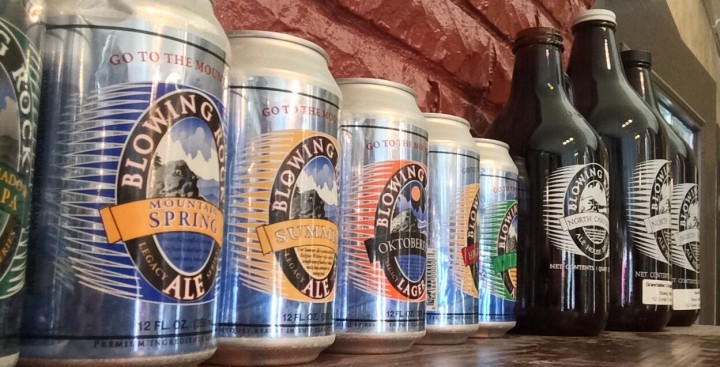 Blowing Rock Brewing Co cans and growlers.